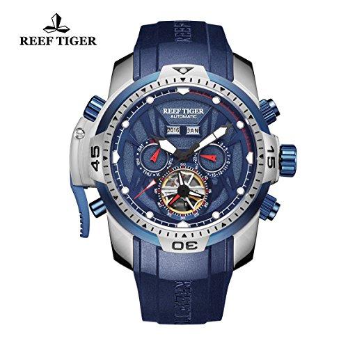 Reef Tiger orologio sportivo da uomo con cinturino in acciaio luminoso orologio automatico RGA3532