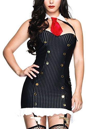 Sexy Kostüm Damen Gangster - 20er Jahre Damen Gangster Suzy Silencer Nadelstreifen Kostüm - schwarz - XS