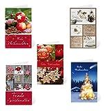 Kibano 10er Set hochwertige Weihnachtskarten | Grußkarten mit 5 Motiven + weiße Briefumschläge (Design No.1)