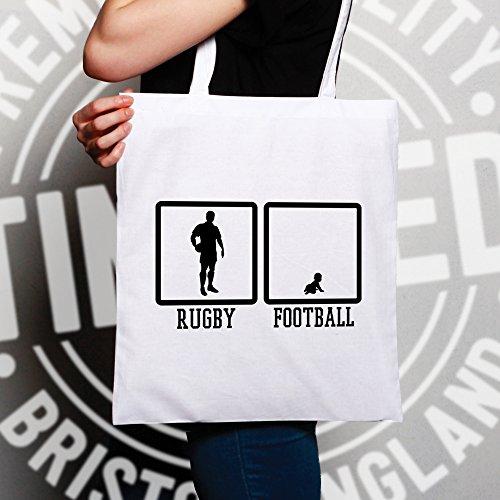 Rugby Sacchetto Di Tote Rugby contro gioco del calcio ... Baby Sport Scrum Gioco White