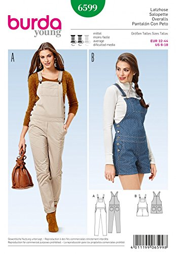 Burda Ladies Sewing Pattern 6599 Long & Short Dungarees