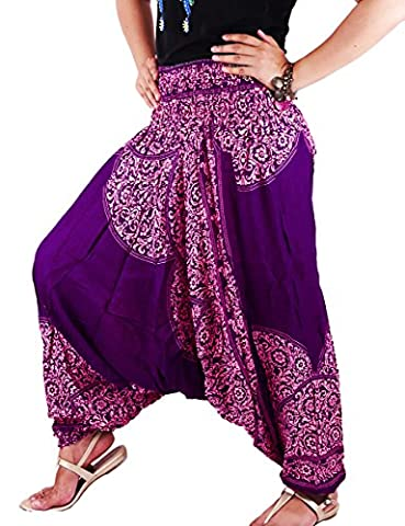 AuthenticAsia - Pantalon - Sarouel - Femme Multicolore bigarré Taille Unique - Multicolore - Taille Unique
