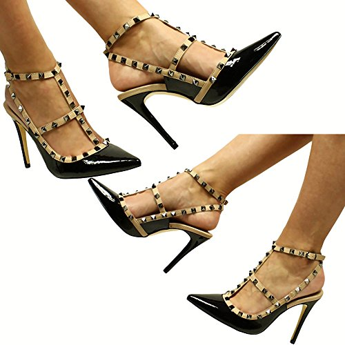 Damenschuhe Elegante Luxus Party Pumps Sandaletten High Heels mit Nieten (38, Schwarz)
