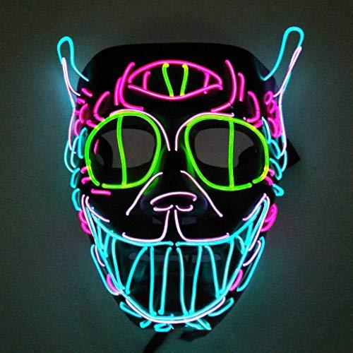 Halloween Kostüm Elvis - DreiäUgige Elvis Halloween Glowing Mask, 3 Arten Von Flash-Modus EL Kaltes Licht Maske FüR Weihnachten Karneval KostüM Cosplay Domino