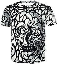 Heren persoonlijkheid schedel zwart-wit bloemblad T-shirt mode 3D digitaal printen ronde hals T-shirt met kort