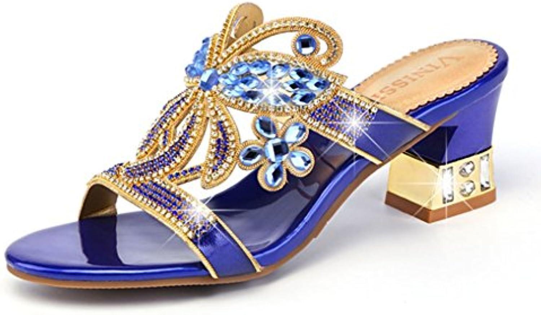 SASA Pantofole strass donna estate Wear con sandali e e e pantofole New Leather Thick With Out Scarpe da donna, blu... | Prezzi Ridotti  c34408