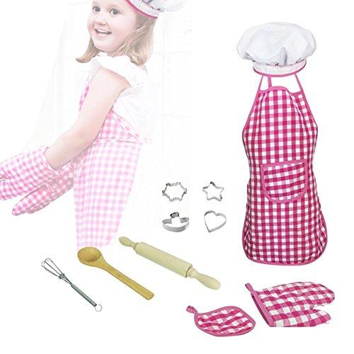 Chef Kostüm Kinder Kochschürze Set Kleinkind Kochen und Backen Set Kids Chef Rollenspiel-Kostüm-Set mit Schürze, Kochmütze, Kochutensilien für Jungen und Mädchen ab 3 Jahren