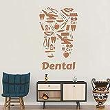 YSFU Stickers muraux Dent Vinyle Sticker Clinique Dentaire Dentistes Dent Outils Outils Autocollants Art Décor À La Maison Unique Mural Salon Chambre Fonds D'Écran...