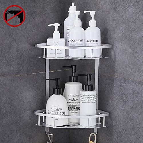 GERUIKE Cesta de Ducha, Estante de almacenaje para baño y Cocina Bandeja de Ducha Rectangular Adhesiva con Aluminio aeroespacial Instalación sin Clavos sin Taladro Negro