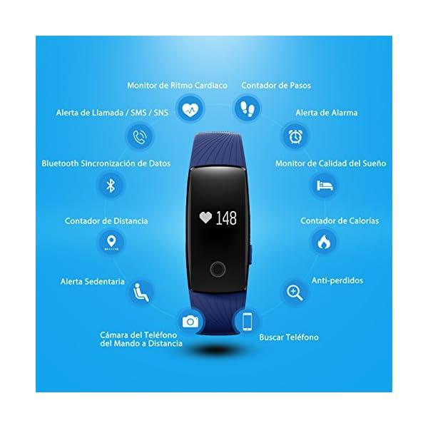 Seneo Fitness Tracker, Reloj Inteligente con Pulsómetro, IP67 Pulsera de Fitness Rastreador de Actividad Monitor de Frecuencia Cardíaca Podómetro Reloj Deportivo IP67 para Hombre Mujer 2