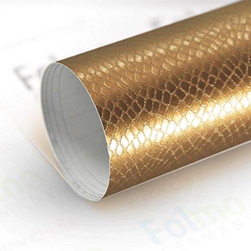 33,04€/m² Auto Folie Streifen Glanz, Matt, Carbonfolie mit Luftkanal (Snake Gold 50x121cm)
