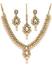 Bindhani Gold Plated Kundan Traditional Bridal Wedding Necklace Earrings Set Jewellery For Women
