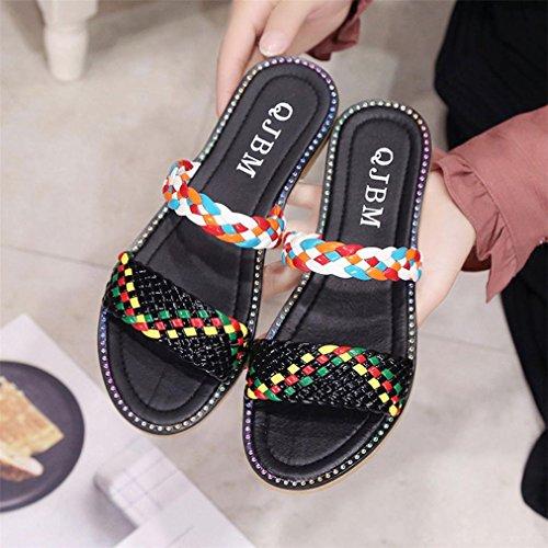 Vovotrade Frauen Boho Casual Keil Plattform Tanga Flip Flops Strand Hausschuhe Schuhe Schwarz