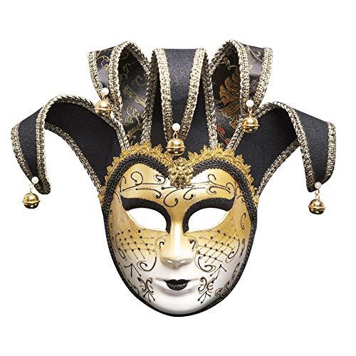 (TINGTING Herren Venezianischen Maskerade Maskenball Party Prom Kostüm Zubehör Unisex-Adult,Black)