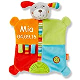 Baby Fehn Schmusetuch medium mit Namen bestickt Baby Geschenk zur Geburt Schnuffeltuch Reh Hund Schaf Bär Teddybär Koala Affe Eule