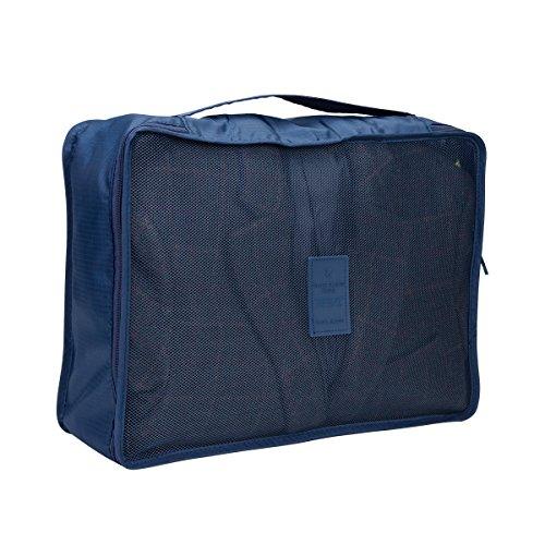 HBlife Organizadores de Equipaje, Juego de 8 Bolsas de Almacenamiento de Viaje Bolsas Organizador Bolsas de Almacenamiento de Ropa de Nylon Maleta (Azul Marino)