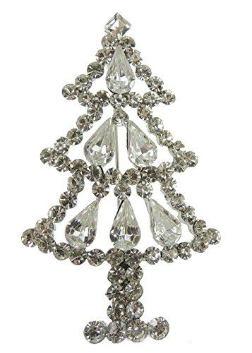 Damen Herren Extra Sparkly mit Kristall Weihnachten Revers Brosche Pin Silber Ton Weihnachtsbaum (Ideen Weihnachtsbaum Trendy)