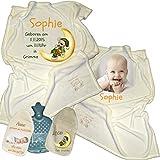 Geschenkset Geburt oder Taufe: Babydecke und Wärmeflasche inkl. Fotodruck und Wunschtext