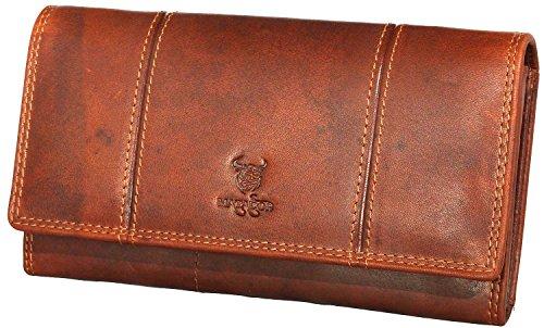 MATADOR ECHT Leder Damen Langbörse Geldbörse Geldbeutel Portemonnaie Geldtasche RFID Schutz Braun (Leder Damen Echt)