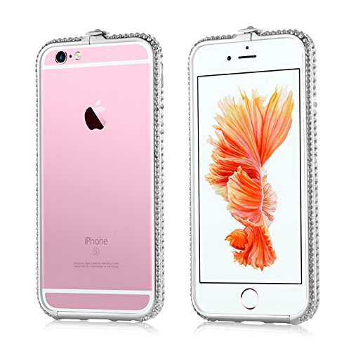 JAMMYLIZARD | Cover custodia Cornice CRYSTALINE BUMPER in Polimero con Brillantini per iPhone 6 e 6s, ARGENTO