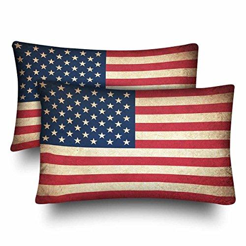 InterestPrint Retro Vintage American Flag Patriotische Star Stripe USA Flag Kissenbezug Kissenbezug Standard Größe 20x30 Set von 2 rechteckigen Kissenbezügen Schutz für Home Couch Sofa Bettwäsche Deko -