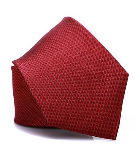 Prettystern - herren Seidenkrawatte gewebt elegant klassisch 8,5 cm breite - rot schwarz gestreift SK06 (Schwarz Seidenkrawatte Geometrische)