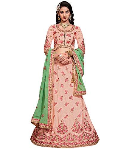 Indian Ethnicwear Bollywood Pakistani Wedding Light Pink Coloured Lehenga Un-stitched