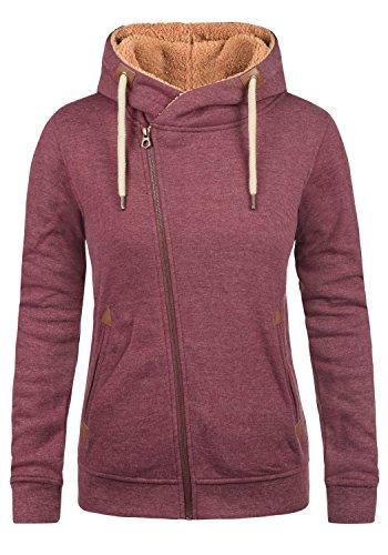DESIRES Vicky Pile Zip Hood Damen Lange Sweatjacke Cardigan Sweatshirtjacke Mit Teddy-Futter Und Kapuze, Größe:M, Farbe:Wine Red Pil (P8985)