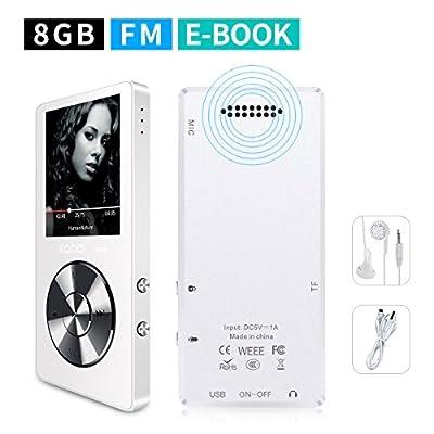 Mymahdi 8 Go MP3 Portable (extensible jusqu'à 128 Go),de musique/une touche de Enregistreur vocal/radio FM 70 heures de avec haut-parleur externe HD,Blanc par Weisa Technology Co., Ltd