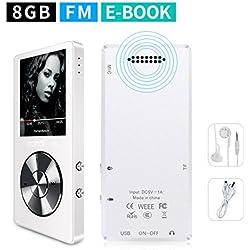 mymahdi 8GB Reproductor de MP3portátil (ampliable a 128GB), reproductor de música/radio FM/grabadora de voz 70horas de reproducción con una tecla con altavoz externo HD auriculares, blanco