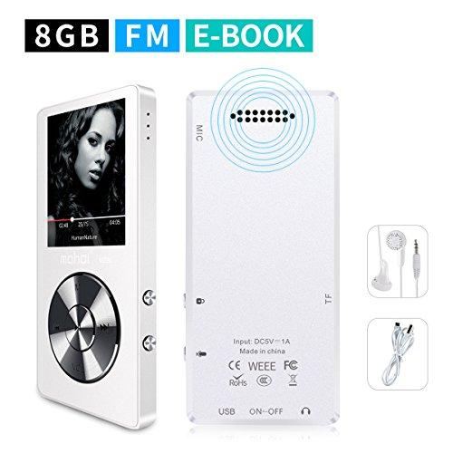 mymahdi 8GB Tragbarer MP3-Player (erweiterbar auf bis zu 128GB), Musik Player/one-Key Voice Recorder/FM Radio 70Stunden Wiedergabe mit Externe Lautsprecher HD Kopfhörer, Weiß (Voice-recorder Mit Timer)