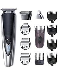 HATTEKER Tondeuse Barbe Tondeuse Cheveux Tondeuse Nez-Oreilles Electrique homme à barbes rasoir Impermeable 5 en 1 Pour Couper Barbe Cil de corps Nez Poils