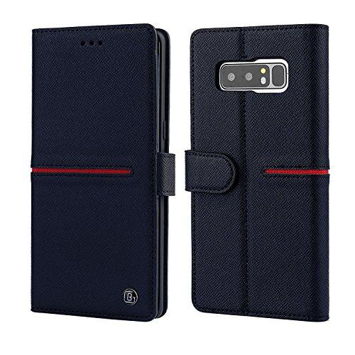 Samsung Galaxy Note 9 Handyhülle,Gebei Aceh Serie Echt Ledertasche Klapp-Handy Shell Schutzhülle mit unsichtbare Magnetknopf für Samsung Galaxy S9 Plus (Blau)