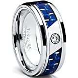 8MM Men's Tungsten Carbide Ring W/ Blue Carbon Fiber Inaly and Cubic Zirconia
