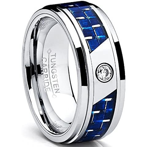 Ultimate Metals Co 8 mm, anello di matrimonio Tungstene con fibra di carbonio, colore: blu e Zirconia cubica