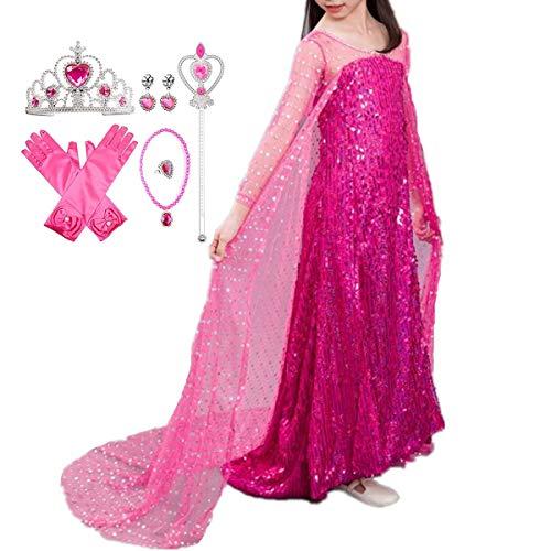 Schnee Kostüm Tiger - LOBTY ELSA Kostüm Prinzessin Mädchen Kleid Eiskönigin Prinzessin Kostüm Kinder Erwachsene Kleid Mädchen Weihnachten Verkleidung Karneval Party Halloween Fest
