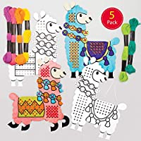 Baker Ross Lovely Llama Colour-in Cross Stitch Kits - Ideal for Kids