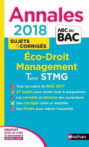 Eco, droit, management terminale STMG : annales 2018