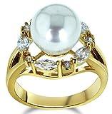 18k Vergoldet Ringe, Damen Versprechen Ringe mit Zirkon Perle Form Gr.58(18.5) Gold Epinki