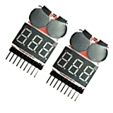 WOSKY 2 Pcs 2 in 1 RC 1-8s Lipo Li-po Li-ion LiMn Li-Fe Battery Checker Tester with Low Voltage Buzzer Alarm warning and LED Indicator for FPV Racing copter helicopter quadcopter monitor