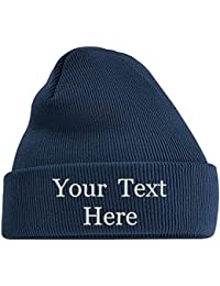 Adults Personalised Embroidered Any Name Cuffed Knitted Beanie Hat 2c7ea41e5503