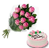 Floral Fantasy Cake and Fresh Flowers Bouquet of 12 Pink Roses Bunch for Birthday Anniversary Friendship day Best Wishes - FFCO0034