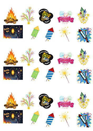 30 Ständer Up Bonfire Night Fireworks Mottoparty Wafer Papier Kuchen Topper Dekorationen
