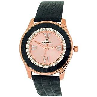 Chapado en oro de las piedras de las señoras Oskar Emil color rosa como se muestra en el color negro de la correa de cuero genuino reloj de pulsera