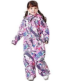 QunWang Los Niños Pieza Trajes De Esquí Muchachas De Los Juegos Al Aire Libre A Prueba De Viento Impermeable Chaqueta Caliente Invierno Más Grueso Terciopelo Pink-110