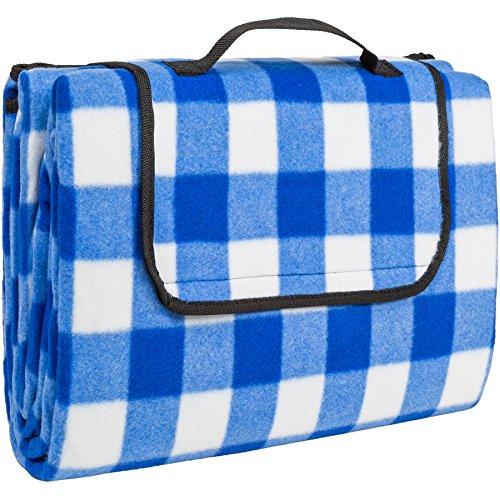 TecTake Colchón manta de picnic viaje camping 200x150cm fondo hidrófugo enrollable - disponible en diferentes colores y cantidades - (Azul blanco | no. 401598)