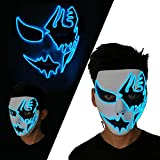 LUXACURY Halloween Cosplay Mask Maschera Spaventoso LED El Wire Light Up Mask Maschera Maschera Luminosa per Feste di Festival Halloween Makeup Party (Blue, LED Mask)