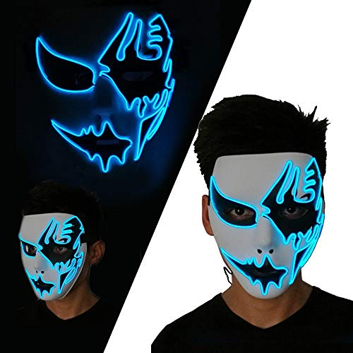LUXACURY Halloween Partei Liefert Cosplay Maske EL Draht Leuchten Maske Party Leucht Maske Erschrecken LED Maske für Festival Parteien Halloween Make-Up Party (Blau, ()