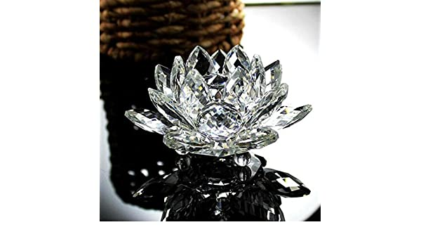Tensay 7 Colors Crystal Glass Lotus Flower Candle Tea Light Holder Buddhist Candlestick Crystal Lotus Candle Holder Home Decoration Gift