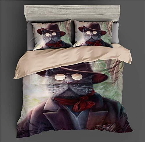 GONGFF Bett 3D Katze Mit Brille Gedruckt Bettbezug Bettwäsche Set Gotik Quilt Bettbezüge für Jugendliche Erwachsene, USQueen225 * 225 cm / 50 * 75 cm * 2